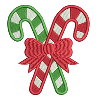 Christmas candy cane machine embroidery design by sweetstitchdesign.com