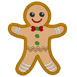 Christmas gingerbread man applique machine embroidery design by sweetstitchdesign.com