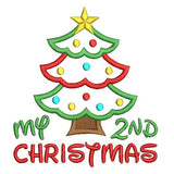 My 2nd Christmas - tree applique embroidery design by sweetstitchdesign.com