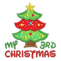 My 3rd Christmas - tree applique machine embroidery design by sweetstitchdesign.com