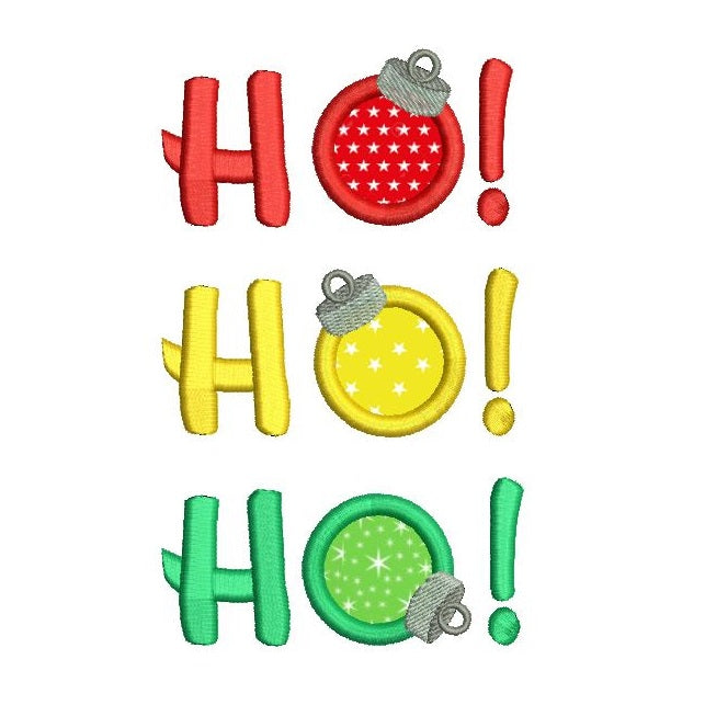 Christmas Ho Ho Ho applique machine embroidery design by sweetstitchdesign.com