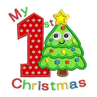 My 1st Christmas - tree applique embroidery design by sweetstitchdesign.com