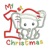 My 1st Christmas - elephant applique machine embroidery design by sweetstitchdesign.com