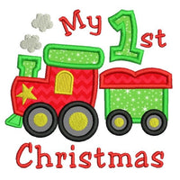 My 1st Christmas - train applique embroidery design by sweetstitchdesign.com