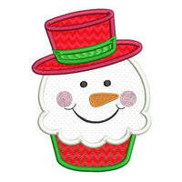 Snowman cupcake applique machine embroidery design by sweetstitchdesign.com