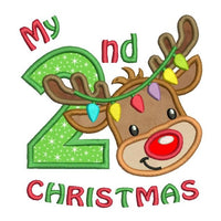 My 2nd Christmas - reindeer applique machine embroidery design by sweetstitchdesign.com