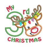 Christmas reindeer applique machine embroidery design by sweetstitchdesign.com