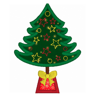 Christmas tree applique machine embroidery design by sweetstitchdesign.com