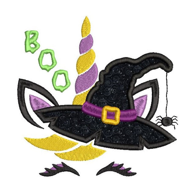 Halloween unicorn witch applique machine embroidery design by sweetstitchdesign.com