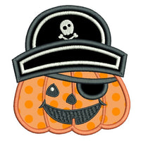 Halloween pirate pumpkin applique machine embroidery design by sweetstitchdesign.com