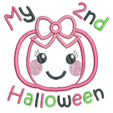 My 2nd Halloween pumpkin applique machine embroidery design by sweetstitchdesign.com