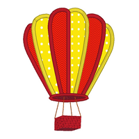 Hot air balloon applique machine embroidery design by sweetstitchdesign.com