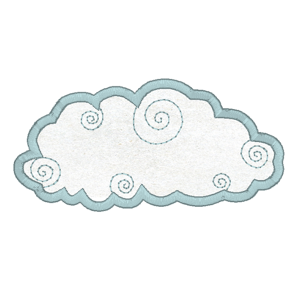 Weather cloud applique machine embroidery design by sweetstitchdesign.com