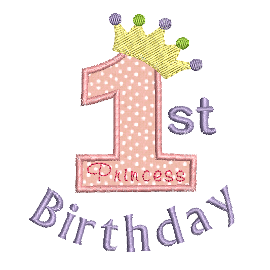 1st birthday number with princess crown applique machine embroidery design by sweetstitchdesign.com