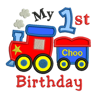 1st birthday train applique machine embroidery design by sweetstitchdesign.com