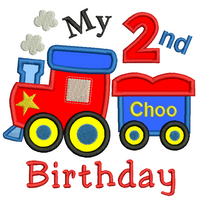 2nd birthday train applique machine embroidery design by sweetstitchdesign.com