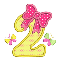 Girl's 2nd birthday applique machine embroidery design by sweetstitchdesign.com