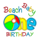 Beachball 1st Birthday applique machine embroidery design by sweetstitchdesign.com