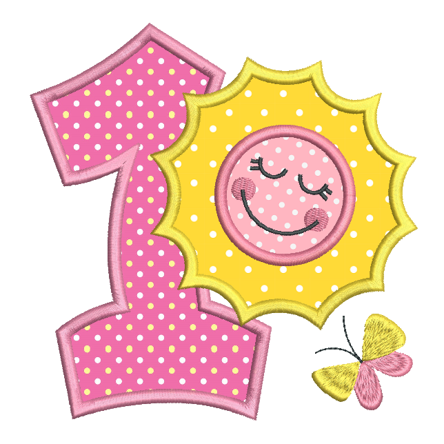 1st birthday number with sun applique machine embroidery design by sweetstitchdesign.com