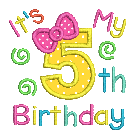 Girl's 5th birthday applique machine embroidery design by sweetstitchdesign.com