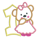 1st birthday number with teddy applique machine embroidery design by sweetstitchdesign.com