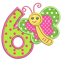 Girl's 6th birthday applique machine embroidery design by sweetstitchdesign.com