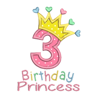 Girl's 3rd birthday applique machine embroidery design by sweetstitchdesign.com
