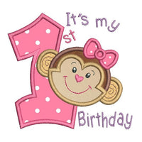 1st birthday monkey applique machine embroidery design by sweetstitchdesign.com