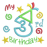 3rd Birthday Applique Machine Embroidery Design by sweetstitchdesign.com