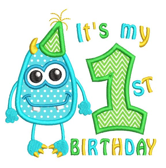 1st birthday monster applique machine embroidery design by sweetstitchdesign.com
