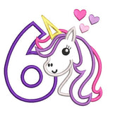 Girl's 6th birthday unicorn applique machine embroidery design by sweetstitchdesign.com
