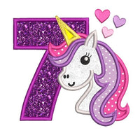 Girl's 7th birthday unicorn applique machine embroidery design by sweetstitchdesign.com