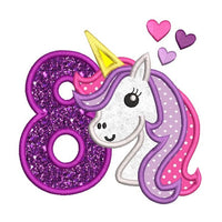 8th birthday unicorn applique machine embroidery design by sweetstitchdesign.com