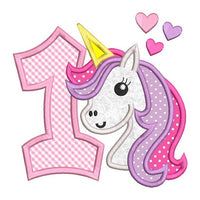 1st birthday unicorn applique machine embroidery design by sweetstitchdesign.com