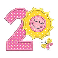 2nd birthday number with sun applique machine embroidery design by sweetstitchdesign.com