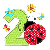 2nd birthday ladybug applique machine embroidery design by sweetstitchdesign.com