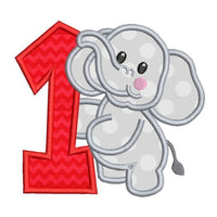 1st birthday elephant applique machine embroidery design by sweetstitchdesign.com