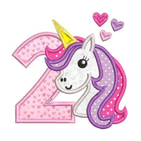 2nd birthday unicorn applique machine embroidery design by sweetstitchdesign.com
