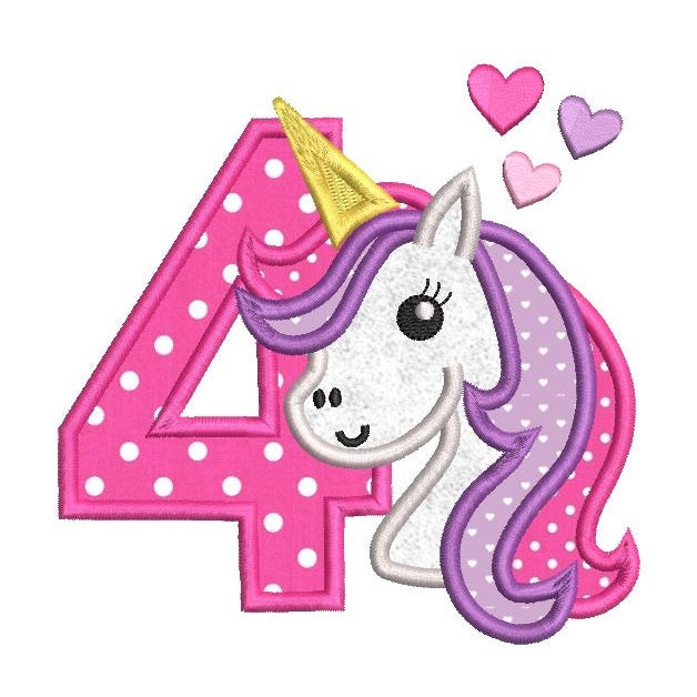 4th birthday unicorn applique machine embroidery design by sweetstitchdesign.com