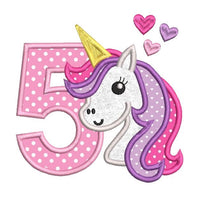 5th birthday unicorn applique machine embroidery design by rosiedayembroidery.com