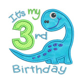 3rd birthday dinosaur machine embroidery design by sweetstitchdesign.com