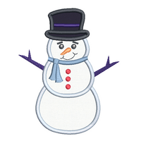 Snowman applique machine embroidery design by sweetstitchdesign.com