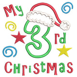 My 3rd Christmas applique machine embroidery design by sweetstitchdesign.com