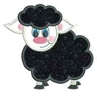 Black Sheep applique machine embroidery design by sweetstitchdesign.com