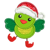 Christmas bird applique machine embroidery design by sweetstitchdesign.com