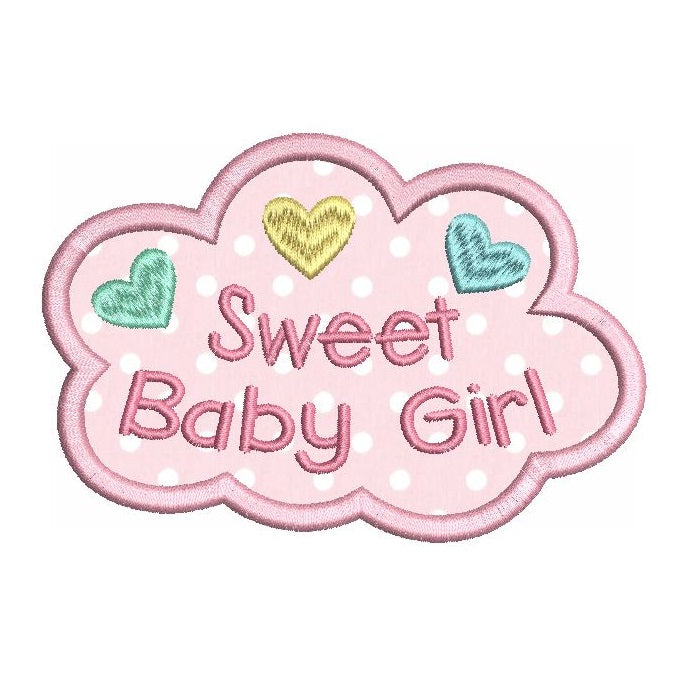 Sweet baby girl applique machine embroidery design by sweetstitchdesign.com