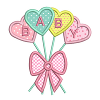 Baby heart balloons applique machine embroidery design by sweetstitchdesign.com