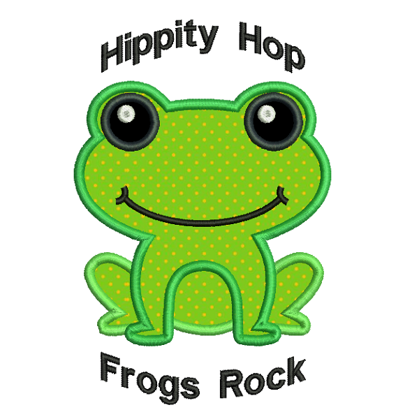 Frog applique machine embroidery design by sweetstitchdesign.com