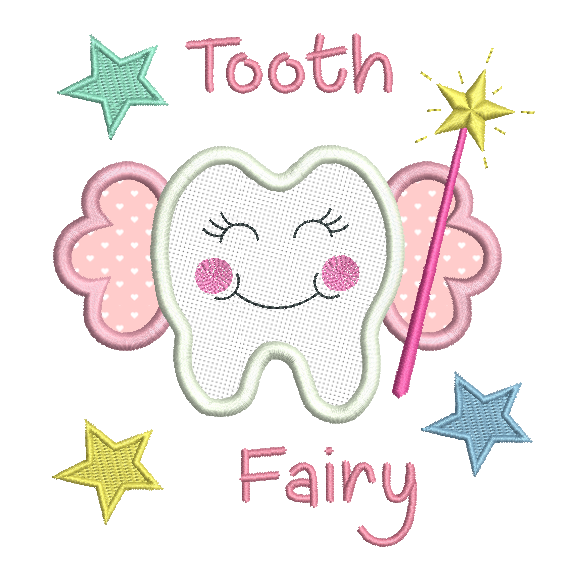 Tooth fairy applique machine embroidery design by sweetstitchdesign.com