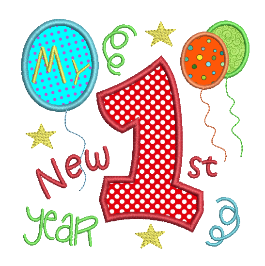 My 1st New Year applique embroidery design by sweetstitchdesign.com